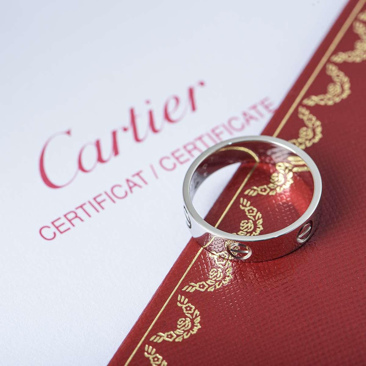 Cartier White Gold Plain Love Ring Size 55 B4084700